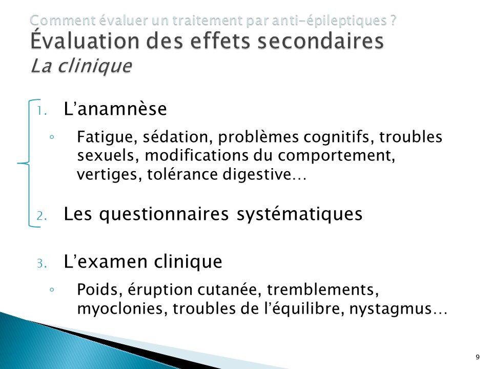 9 1. Lanamnèse Fatigue, sédation, problèmes cognitifs, troubles sexuels, modifications du comportement, vertiges, tolérance digestive… 2. Les question