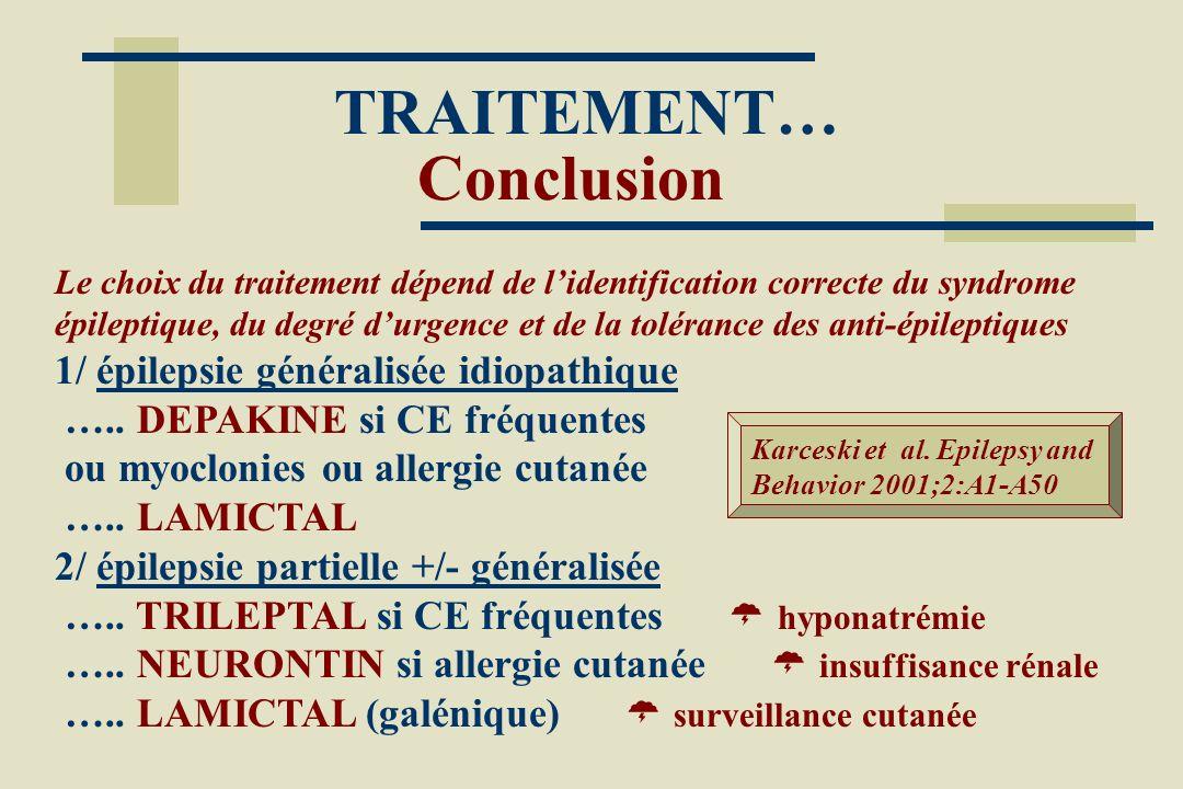 TRAITEMENT… Conclusion Le choix du traitement dépend de lidentification correcte du syndrome épileptique, du degré durgence et de la tolérance des ant