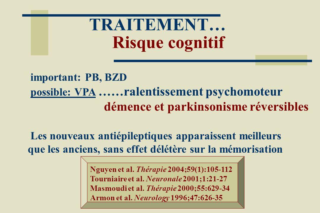 TRAITEMENT… Risque cognitif important: PB, BZD possible: VPA ……ralentissement psychomoteur démence et parkinsonisme réversibles Les nouveaux antiépile