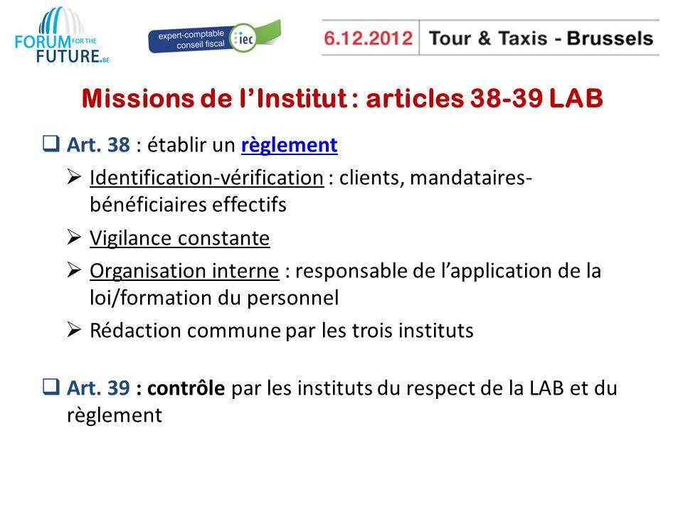 Missions de lInstitut : articles 38-39 LAB Art.