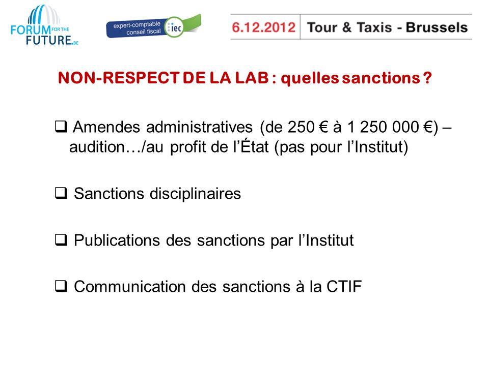 NON-RESPECT DE LA LAB : quelles sanctions .