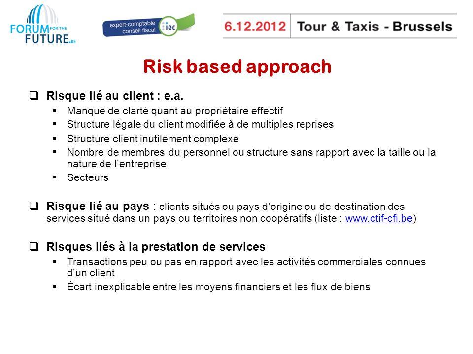 Risk based approach Risque lié au client : e.a.