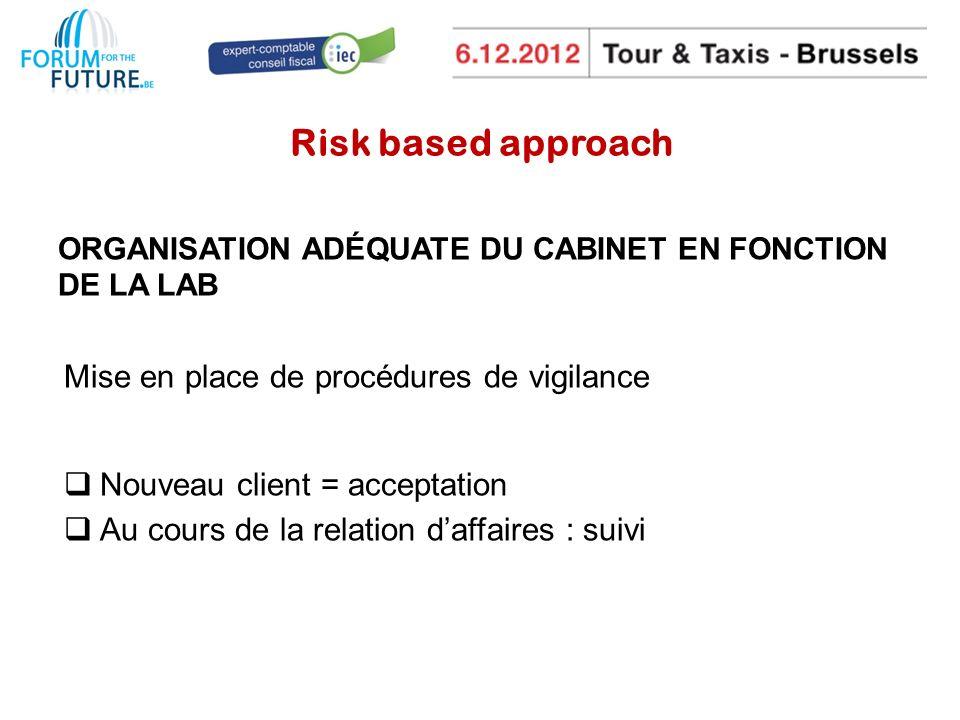 Risk based approach ORGANISATION ADÉQUATE DU CABINET EN FONCTION DE LA LAB Mise en place de procédures de vigilance Nouveau client = acceptation Au cours de la relation daffaires : suivi