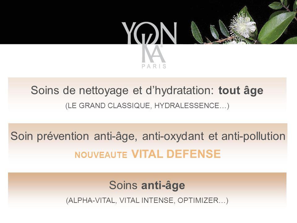 Soins de nettoyage et dhydratation: tout âge (LE GRAND CLASSIQUE, HYDRALESSENCE…) Soins anti-âge (ALPHA-VITAL, VITAL INTENSE, OPTIMIZER…) Soin prévention anti-âge, anti-oxydant et anti-pollution NOUVEAUTE VITAL DEFENSE