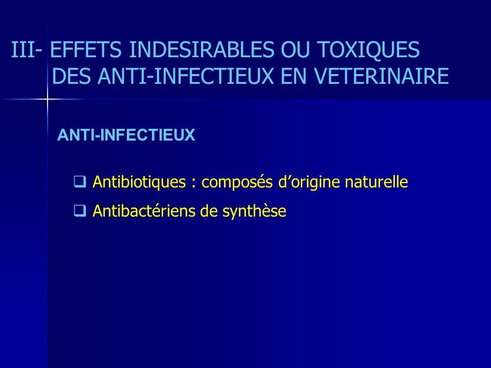 III- EFFETS INDESIRABLES OU TOXIQUES DES ANTI-INFECTIEUX EN VETERINAIRE Antibiotiques : composés dorigine naturelle Antibactériens de synthèse ANTI-INFECTIEUX