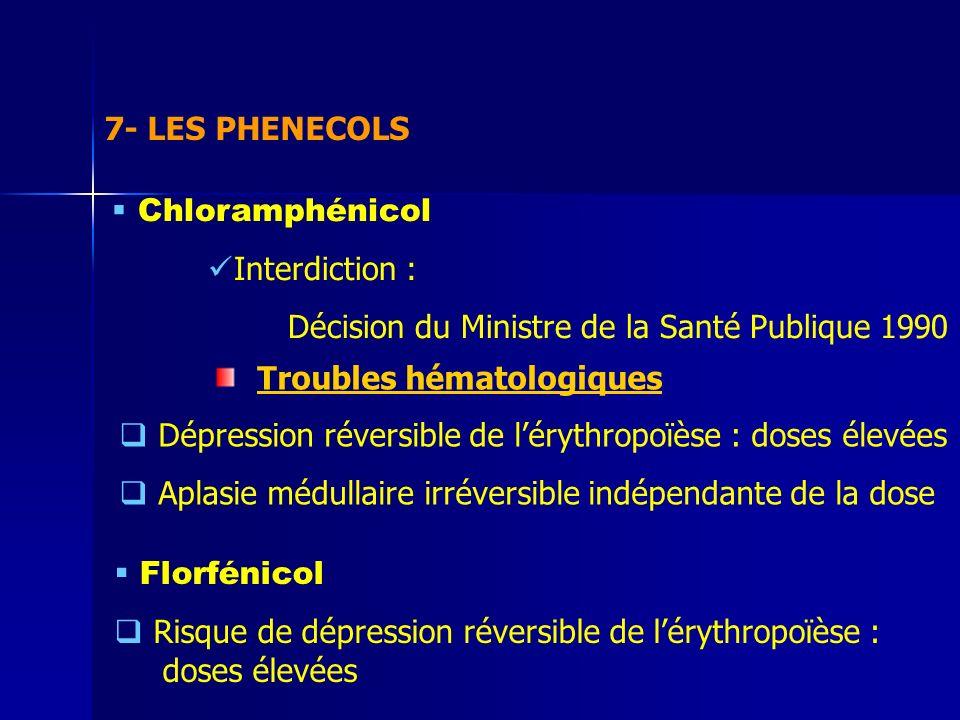 7- LES PHENECOLS Chloramphénicol Interdiction : Décision du Ministre de la Santé Publique 1990 Troubles hématologiques Dépression réversible de lérythropoïèse : doses élevées Aplasie médullaire irréversible indépendante de la dose Florfénicol Risque de dépression réversible de lérythropoïèse : doses élevées