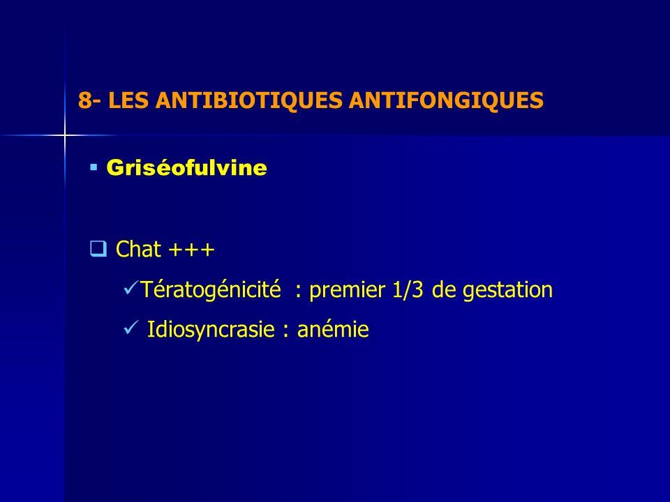 8- LES ANTIBIOTIQUES ANTIFONGIQUES Griséofulvine Chat +++ Tératogénicité : premier 1/3 de gestation Idiosyncrasie : anémie