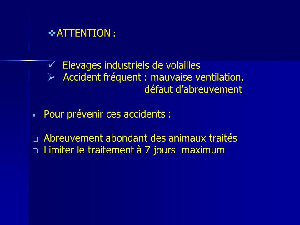 ATTENTION : Elevages industriels de volailles Accident fréquent : mauvaise ventilation, défaut dabreuvement Pour prévenir ces accidents : Abreuvement abondant des animaux traités Limiter le traitement à 7 jours maximum