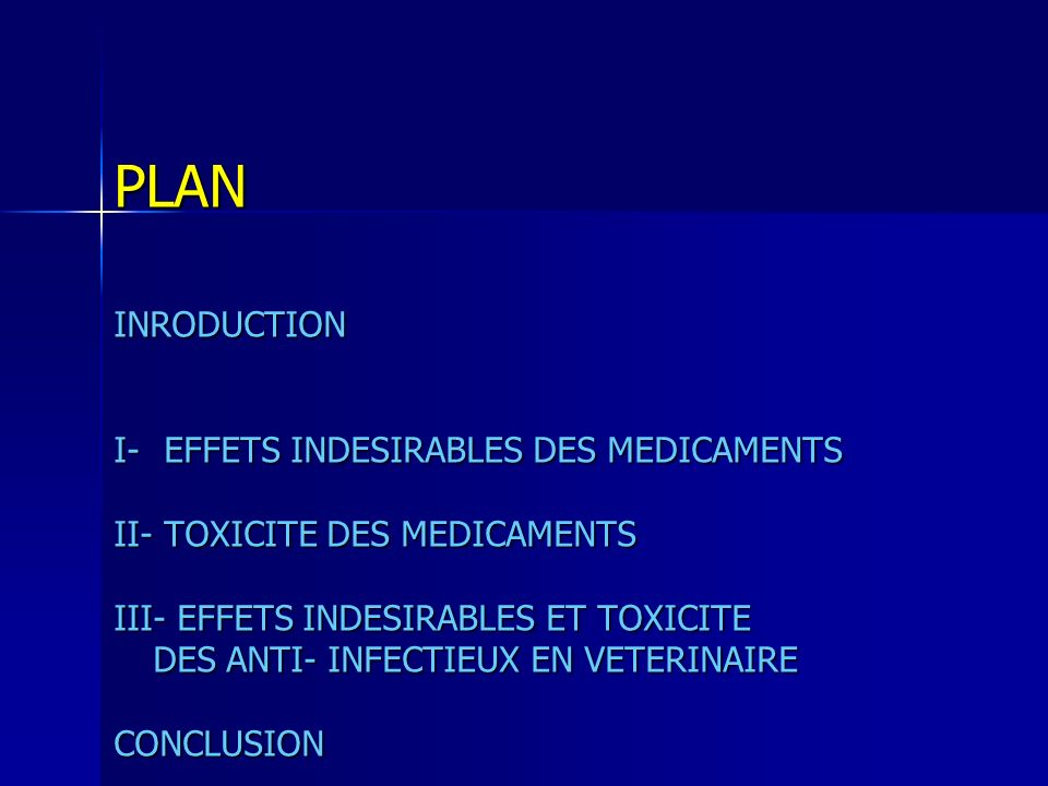 PLANINRODUCTION I- EFFETS INDESIRABLES DES MEDICAMENTS II- TOXICITE DES MEDICAMENTS III- EFFETS INDESIRABLES ET TOXICITE DES ANTI- INFECTIEUX EN VETERINAIRE CONCLUSION