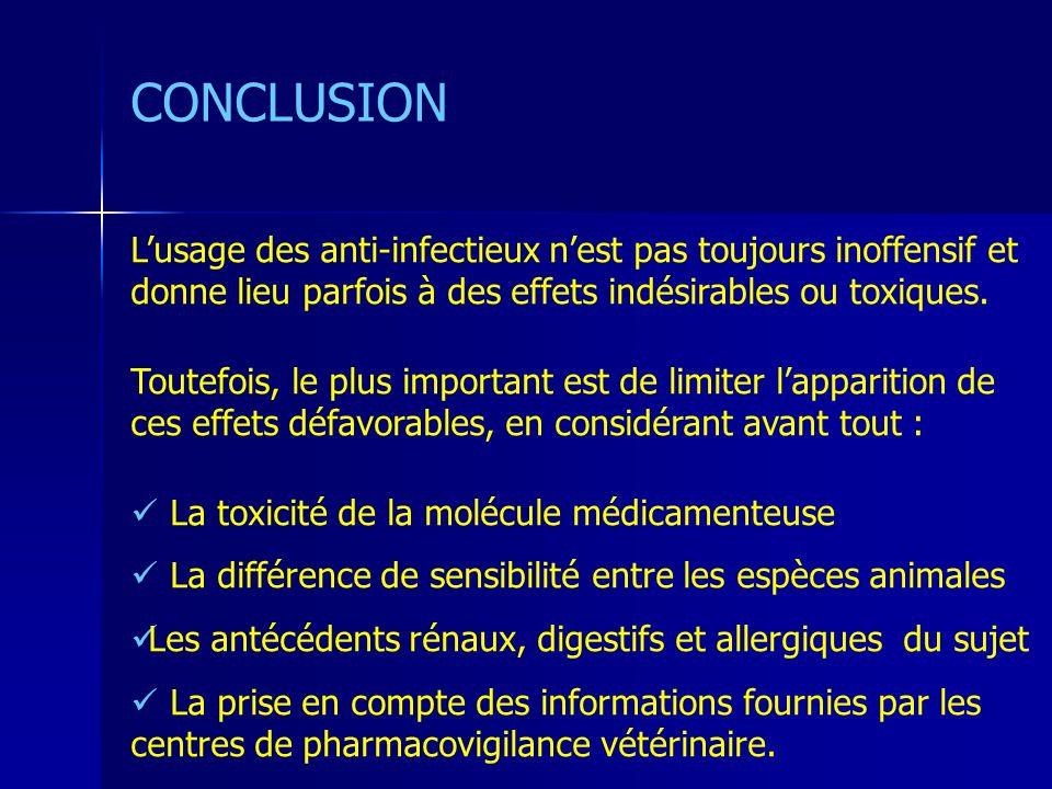 CONCLUSION Lusage des anti-infectieux nest pas toujours inoffensif et donne lieu parfois à des effets indésirables ou toxiques. Toutefois, le plus imp