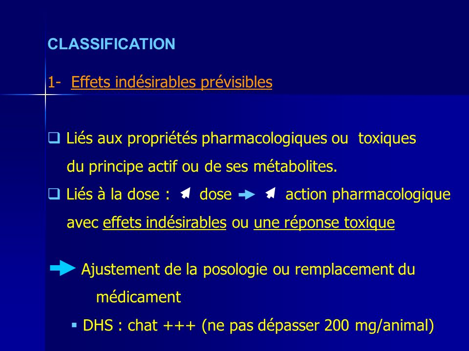 CLASSIFICATION 1- Effets indésirables prévisibles Liés aux propriétés pharmacologiques ou toxiques du principe actif ou de ses métabolites.