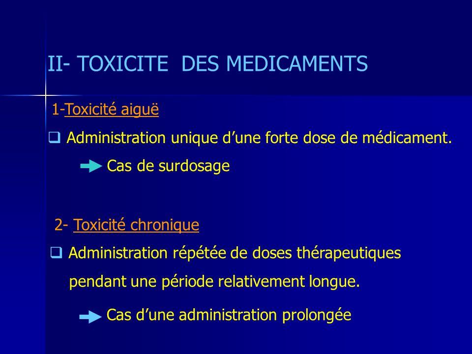 II- TOXICITE DES MEDICAMENTS 1-Toxicité aiguë Administration unique dune forte dose de médicament. Cas de surdosage 2- Toxicité chronique Administrati