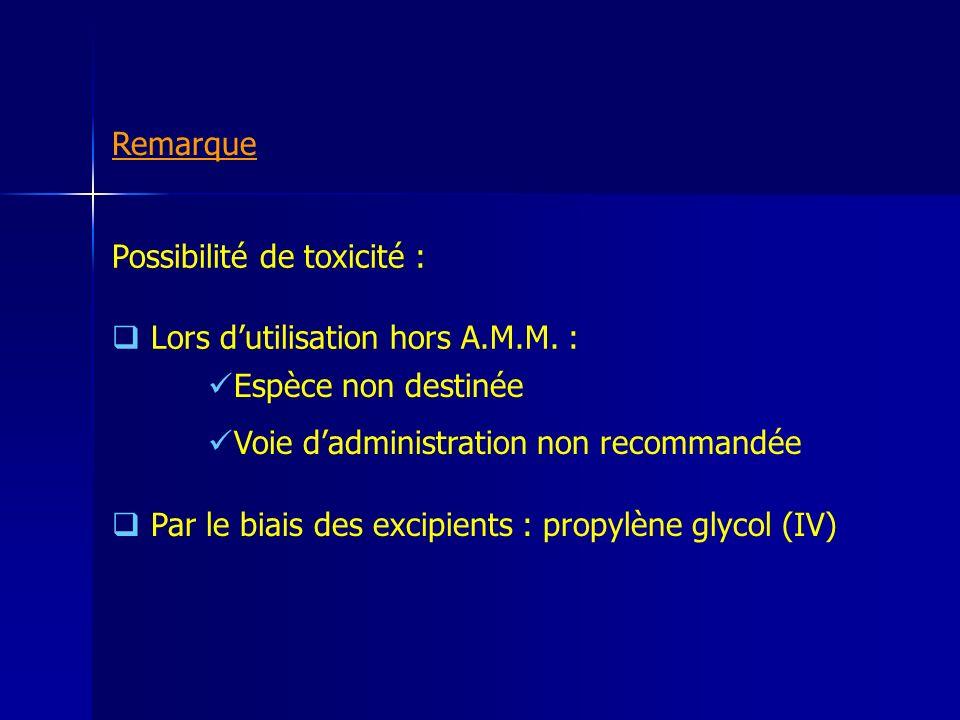 Possibilité de toxicité : Lors dutilisation hors A.M.M. : Espèce non destinée Voie dadministration non recommandée Par le biais des excipients : propy
