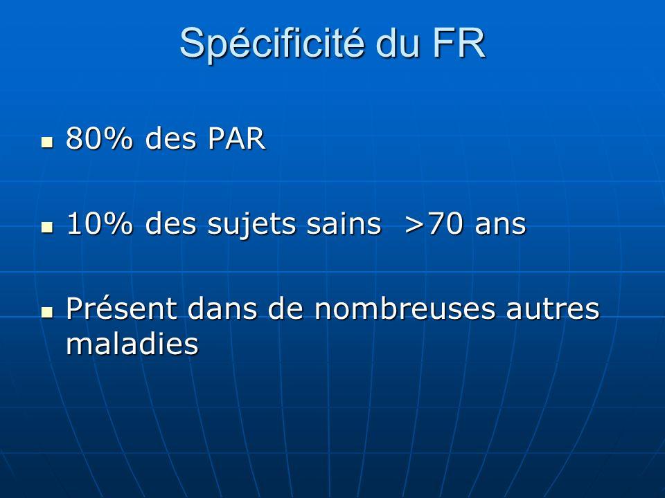 Spécificité du FR 80% des PAR 80% des PAR 10% des sujets sains >70 ans 10% des sujets sains >70 ans Présent dans de nombreuses autres maladies Présent