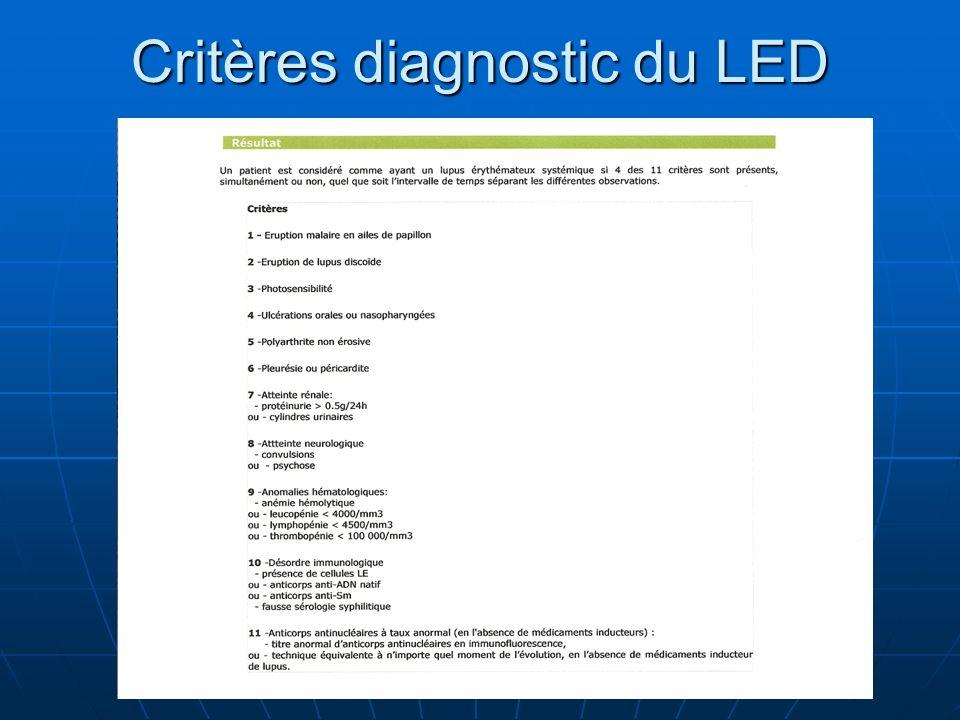 Critères diagnostic du LED