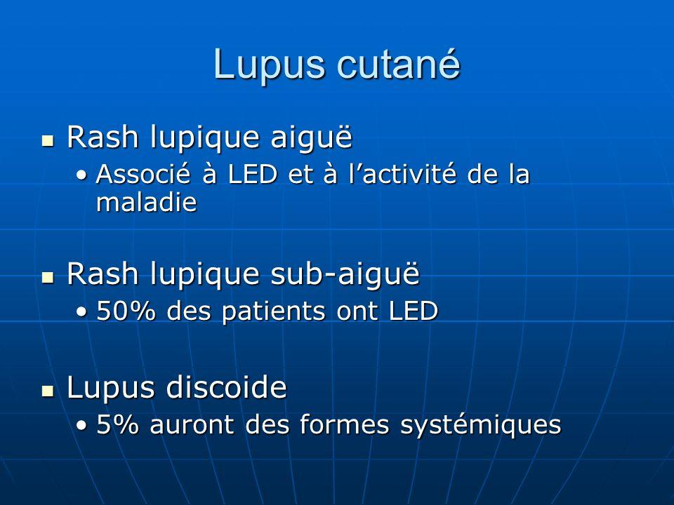 Lupus cutané Rash lupique aiguë Rash lupique aiguë Associé à LED et à lactivité de la maladieAssocié à LED et à lactivité de la maladie Rash lupique s