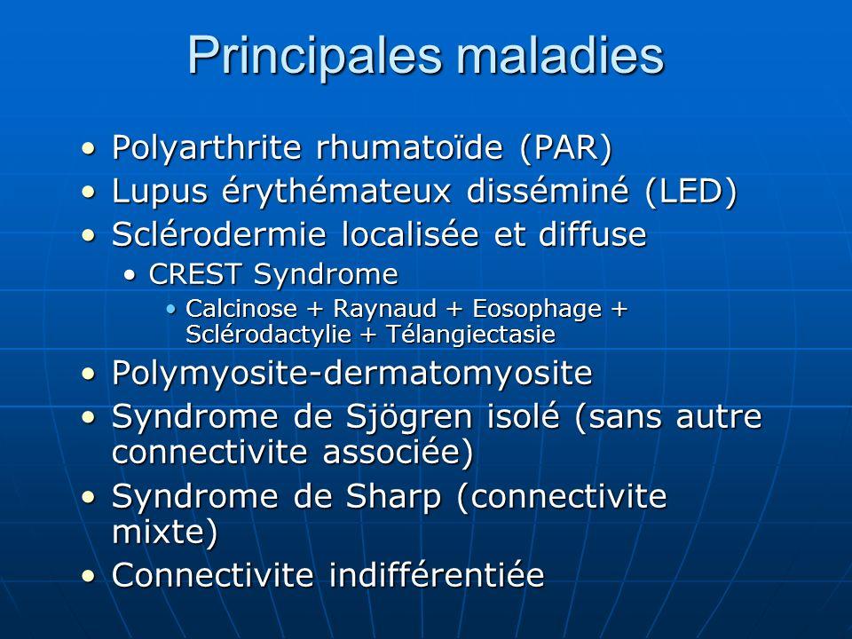 Principales maladies Polyarthrite rhumatoïde (PAR)Polyarthrite rhumatoïde (PAR) Lupus érythémateux disséminé (LED)Lupus érythémateux disséminé (LED) S