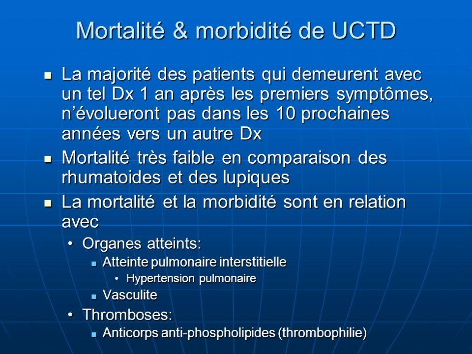 Mortalité & morbidité de UCTD La majorité des patients qui demeurent avec un tel Dx 1 an après les premiers symptômes, névolueront pas dans les 10 pro