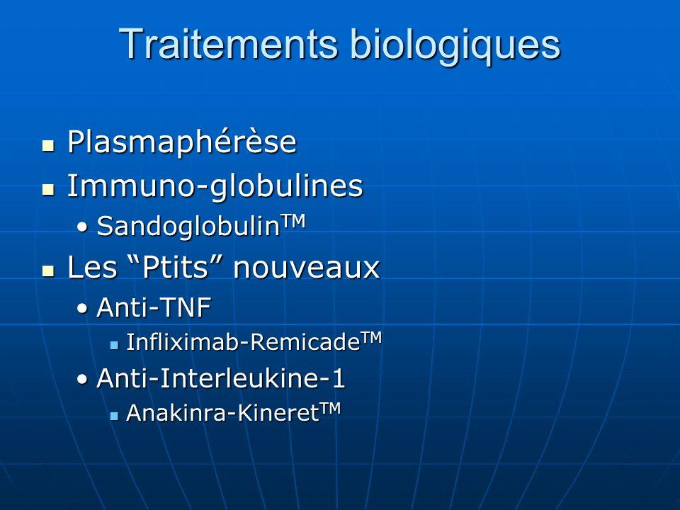 Traitements biologiques Plasmaphérèse Plasmaphérèse Immuno-globulines Immuno-globulines Sandoglobulin TMSandoglobulin TM Les Ptits nouveaux Les Ptits