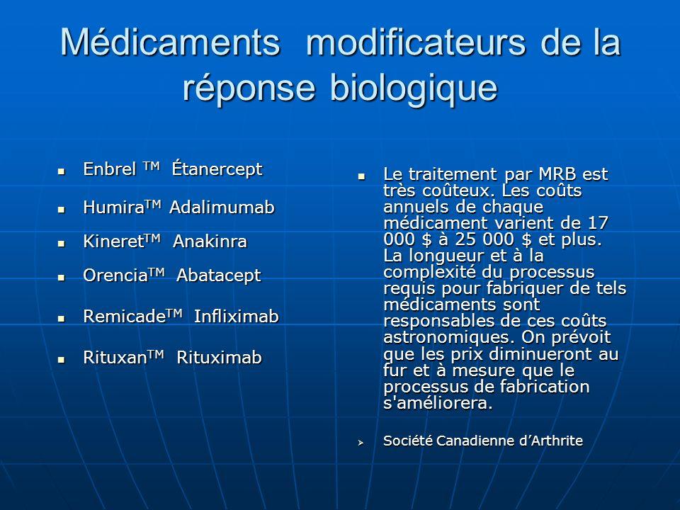 Médicaments modificateurs de la réponse biologique Enbrel TM Étanercept Enbrel TM Étanercept Humira TM Adalimumab Humira TM Adalimumab Kineret TM Anak