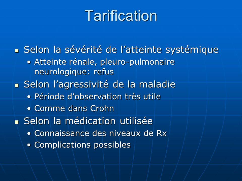 Tarification Selon la sévérité de latteinte systémique Selon la sévérité de latteinte systémique Atteinte rénale, pleuro-pulmonaire neurologique: refu