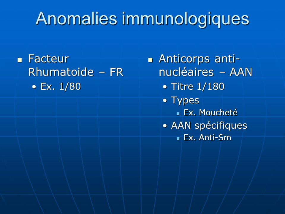 Anomalies immunologiques Facteur Rhumatoide – FR Facteur Rhumatoide – FR Ex. 1/80Ex. 1/80 Anticorps anti- nucléaires – AAN Anticorps anti- nucléaires