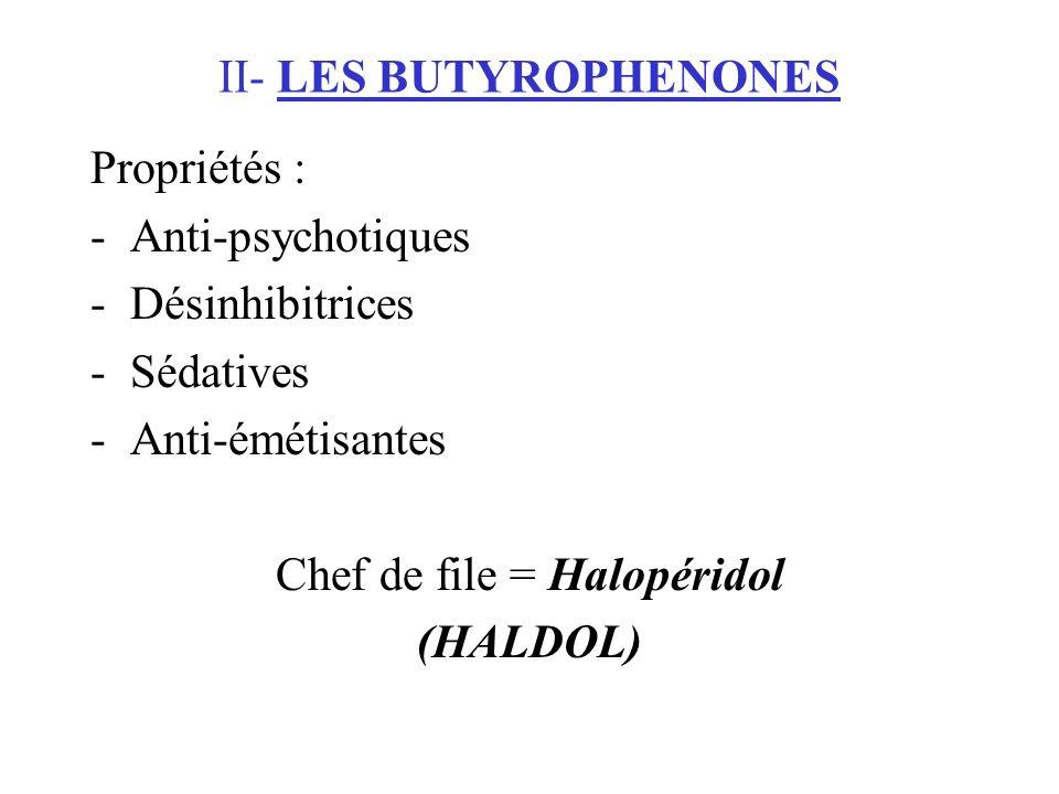 II- LES BUTYROPHENONES Propriétés : -Anti-psychotiques -Désinhibitrices -Sédatives -Anti-émétisantes Chef de file = Halopéridol (HALDOL)