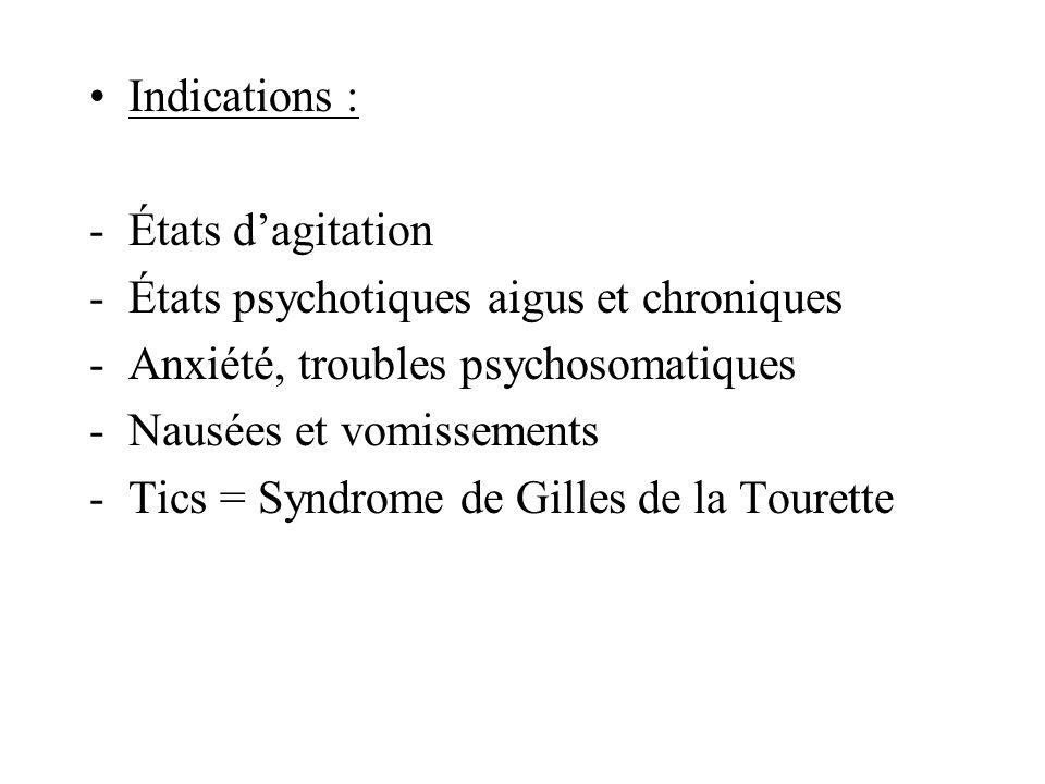 Indications : -États dagitation -États psychotiques aigus et chroniques -Anxiété, troubles psychosomatiques -Nausées et vomissements -Tics = Syndrome