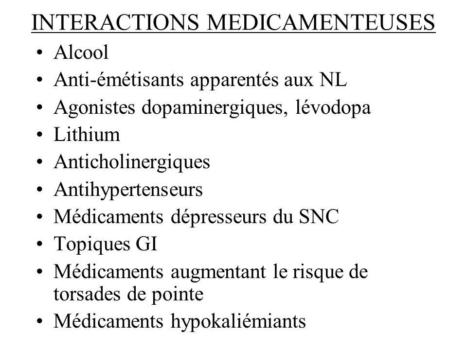 INTERACTIONS MEDICAMENTEUSES Alcool Anti-émétisants apparentés aux NL Agonistes dopaminergiques, lévodopa Lithium Anticholinergiques Antihypertenseurs