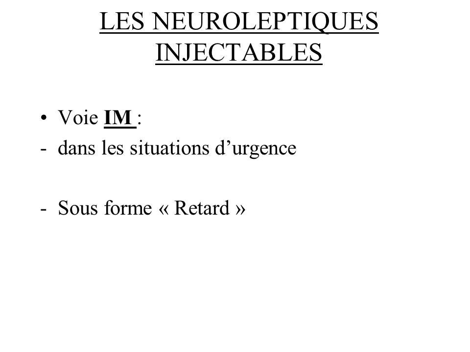 LES NEUROLEPTIQUES INJECTABLES Voie IM : -dans les situations durgence -Sous forme « Retard »