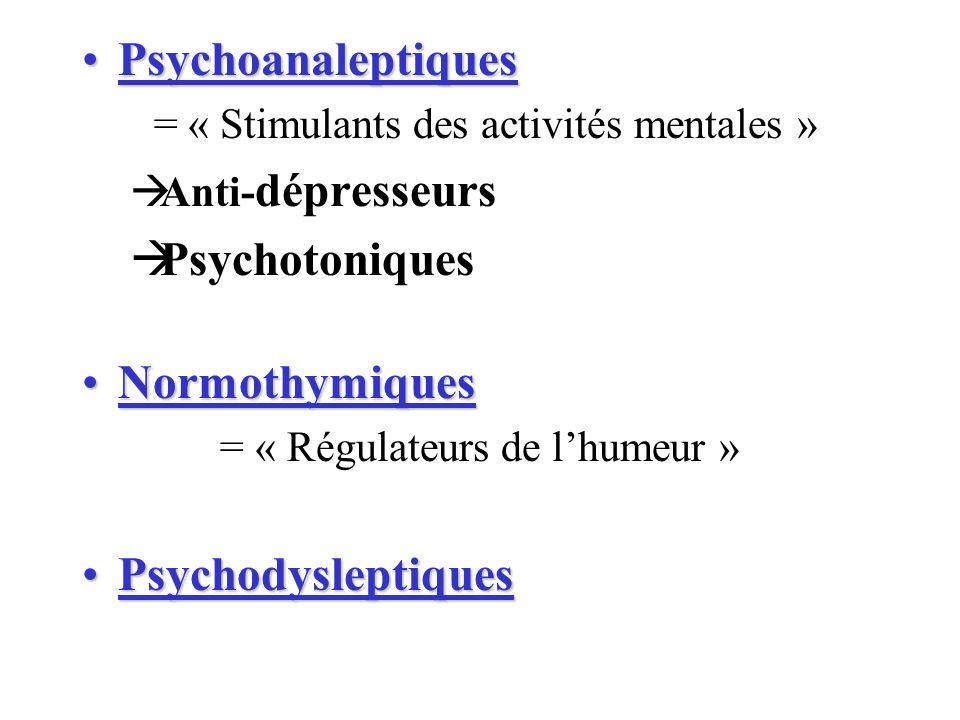 PsychoanaleptiquesPsychoanaleptiques = « Stimulants des activités mentales » Anti- dépresseurs Psychotoniques NormothymiquesNormothymiques = « Régulat