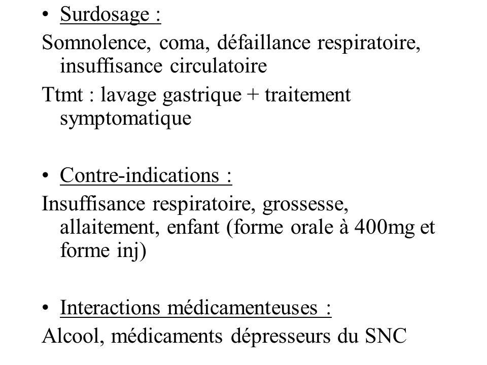 Surdosage : Somnolence, coma, défaillance respiratoire, insuffisance circulatoire Ttmt : lavage gastrique + traitement symptomatique Contre-indication