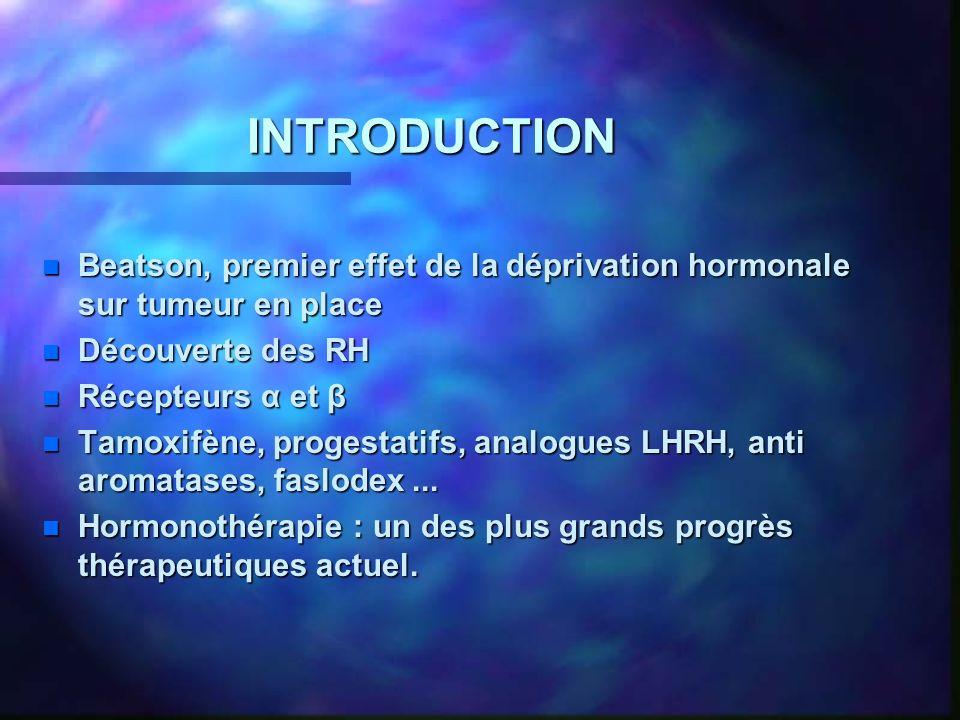 INTRODUCTION n Beatson, premier effet de la déprivation hormonale sur tumeur en place n Découverte des RH n Récepteurs α et β n Tamoxifène, progestatifs, analogues LHRH, anti aromatases, faslodex...