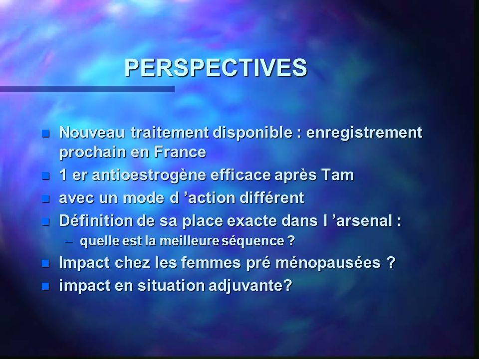 PERSPECTIVES n Nouveau traitement disponible : enregistrement prochain en France n 1 er antioestrogène efficace après Tam n avec un mode d action différent n Définition de sa place exacte dans l arsenal : –quelle est la meilleure séquence .