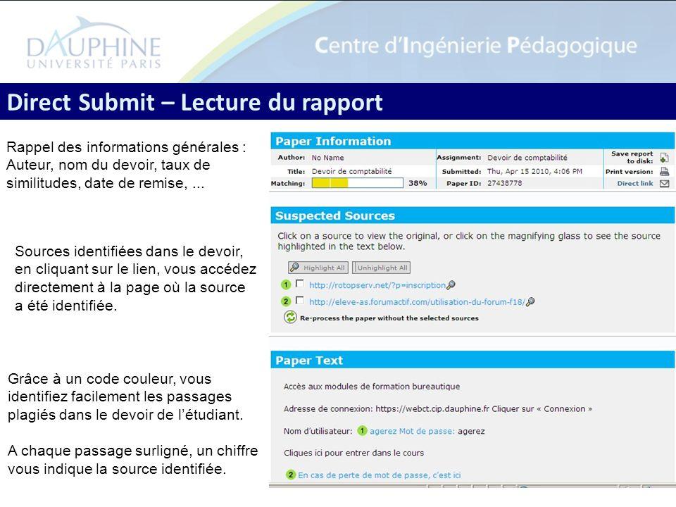 9 Direct Submit – Lecture du rapport Grâce à un code couleur, vous identifiez facilement les passages plagiés dans le devoir de létudiant. A chaque pa