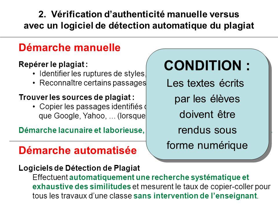 2. Vérification dauthenticité manuelle versus avec un logiciel de détection automatique du plagiat Démarche manuelle Repérer le plagiat : Identifier l