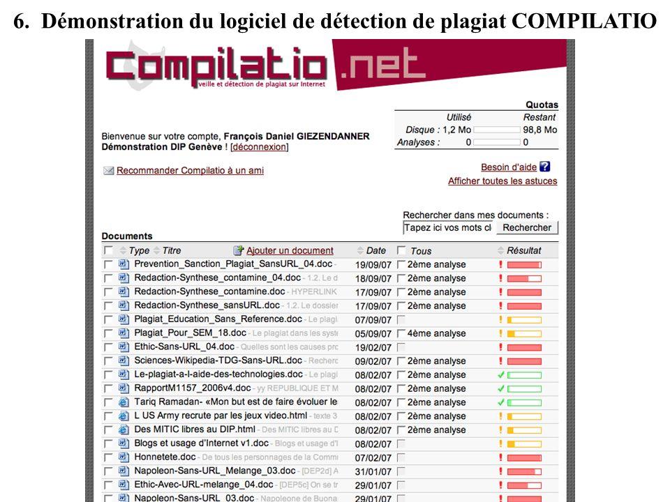 6. Démonstration du logiciel de détection de plagiat COMPILATIO