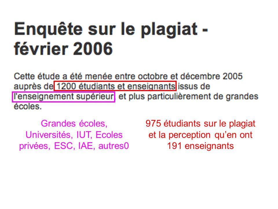 Questionnaire destiné aux étudiants 7. Lancement dune enquête sur limportance du plagiat au PO