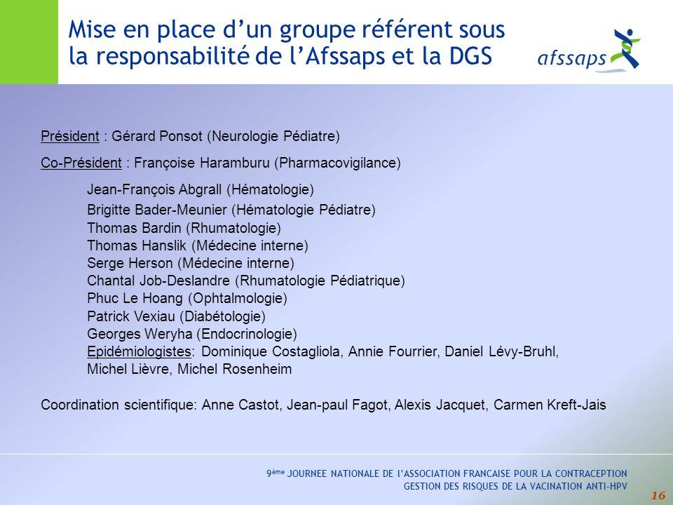 16 9 ème JOURNEE NATIONALE DE lASSOCIATION FRANCAISE POUR LA CONTRACEPTION GESTION DES RISQUES DE LA VACINATION ANTI-HPV Mise en place dun groupe référent sous la responsabilité de lAfssaps et la DGS Président : Gérard Ponsot (Neurologie Pédiatre) Co-Président : Françoise Haramburu (Pharmacovigilance) Jean-François Abgrall (Hématologie) Brigitte Bader-Meunier (Hématologie Pédiatre) Thomas Bardin (Rhumatologie) Thomas Hanslik (Médecine interne) Serge Herson (Médecine interne) Chantal Job-Deslandre (Rhumatologie Pédiatrique) Phuc Le Hoang (Ophtalmologie) Patrick Vexiau (Diabétologie) Georges Weryha (Endocrinologie) Epidémiologistes: Dominique Costagliola, Annie Fourrier, Daniel Lévy-Bruhl, Michel Lièvre, Michel Rosenheim Coordination scientifique: Anne Castot, Jean-paul Fagot, Alexis Jacquet, Carmen Kreft-Jais