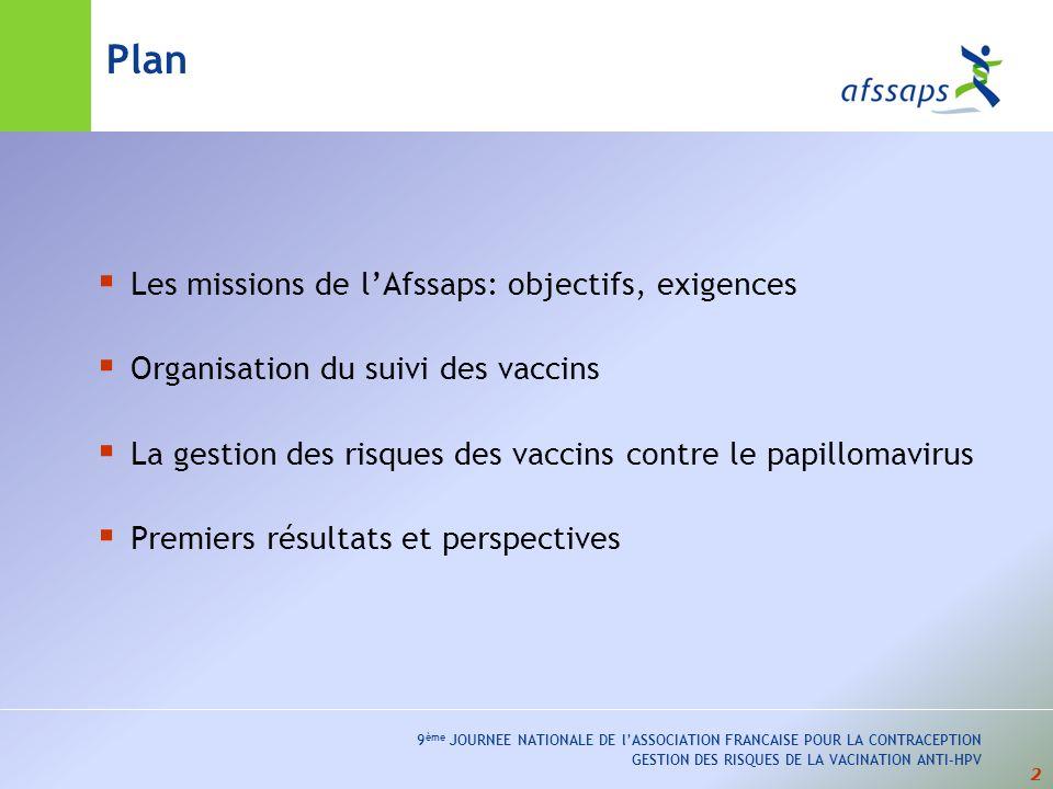2 9 ème JOURNEE NATIONALE DE lASSOCIATION FRANCAISE POUR LA CONTRACEPTION GESTION DES RISQUES DE LA VACINATION ANTI-HPV Plan Les missions de lAfssaps: