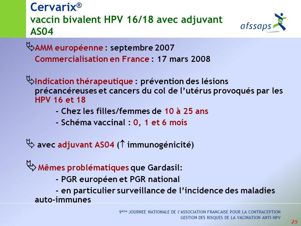 25 9 ème JOURNEE NATIONALE DE lASSOCIATION FRANCAISE POUR LA CONTRACEPTION GESTION DES RISQUES DE LA VACINATION ANTI-HPV Cervarix ® vaccin bivalent HP