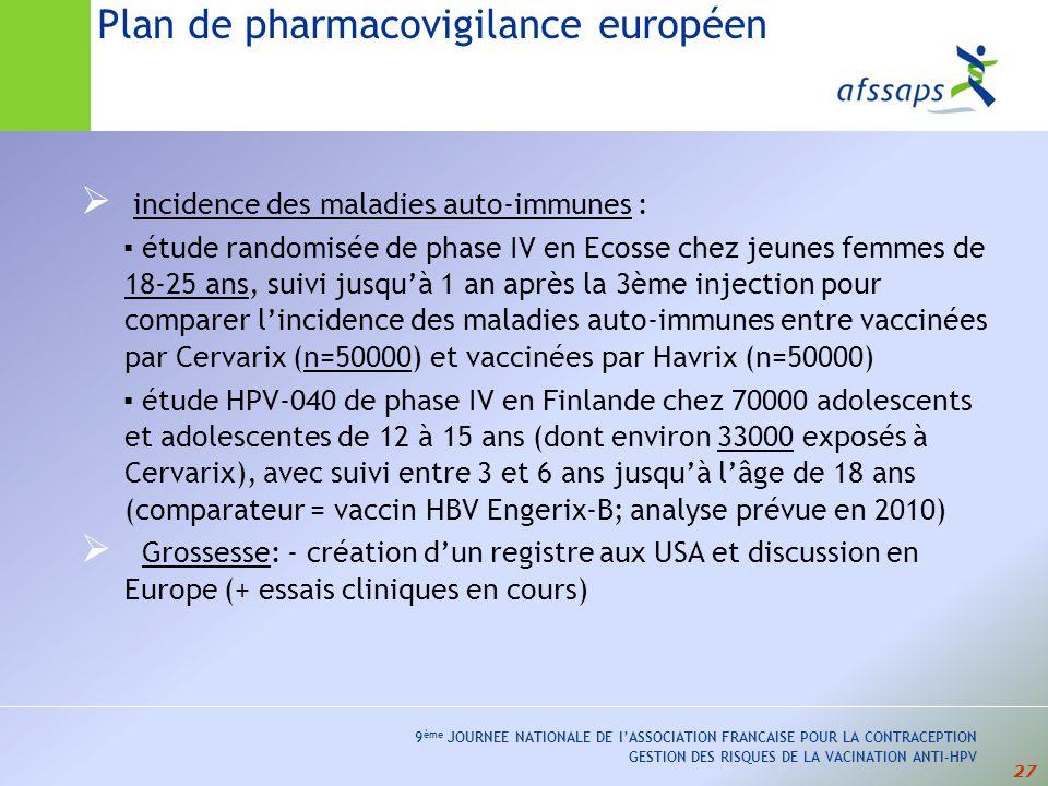 27 9 ème JOURNEE NATIONALE DE lASSOCIATION FRANCAISE POUR LA CONTRACEPTION GESTION DES RISQUES DE LA VACINATION ANTI-HPV incidence des maladies auto-immunes : étude randomisée de phase IV en Ecosse chez jeunes femmes de 18-25 ans, suivi jusquà 1 an après la 3ème injection pour comparer lincidence des maladies auto-immunes entre vaccinées par Cervarix (n=50000) et vaccinées par Havrix (n=50000) étude HPV-040 de phase IV en Finlande chez 70000 adolescents et adolescentes de 12 à 15 ans (dont environ 33000 exposés à Cervarix), avec suivi entre 3 et 6 ans jusquà lâge de 18 ans (comparateur = vaccin HBV Engerix-B; analyse prévue en 2010) Grossesse: - création dun registre aux USA et discussion en Europe (+ essais cliniques en cours) Plan de pharmacovigilance européen