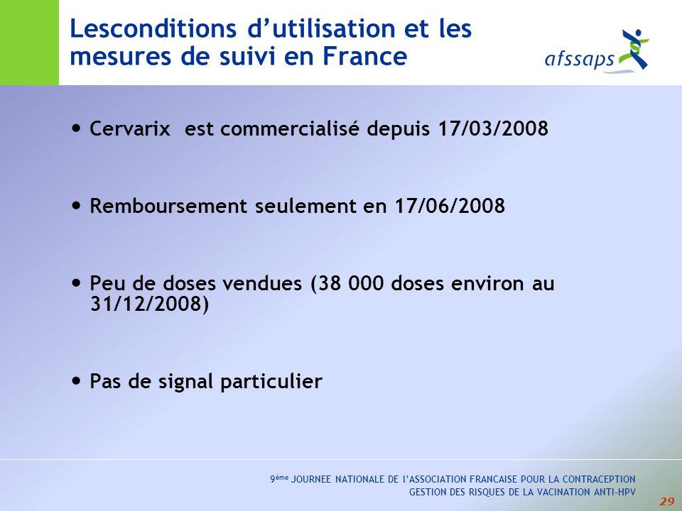 29 9 ème JOURNEE NATIONALE DE lASSOCIATION FRANCAISE POUR LA CONTRACEPTION GESTION DES RISQUES DE LA VACINATION ANTI-HPV Lesconditions dutilisation et les mesures de suivi en France Cervarix est commercialisé depuis 17/03/2008 Remboursement seulement en 17/06/2008 Peu de doses vendues (38 000 doses environ au 31/12/2008) Pas de signal particulier