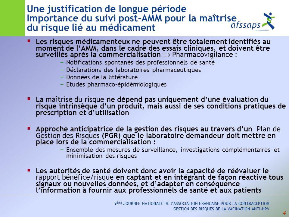 25 9 ème JOURNEE NATIONALE DE lASSOCIATION FRANCAISE POUR LA CONTRACEPTION GESTION DES RISQUES DE LA VACINATION ANTI-HPV Cervarix ® vaccin bivalent HPV 16/18 avec adjuvant AS04 AMM européenne : septembre 2007 Commercialisation en France : 17 mars 2008 Indication thérapeutique : prévention des lésions précancéreuses et cancers du col de lutérus provoqués par les HPV 16 et 18 - Chez les filles/femmes de 10 à 25 ans - Schéma vaccinal : 0, 1 et 6 mois avec adjuvant AS04 ( immunogénicité) Mêmes problématiques que Gardasil: - PGR européen et PGR national - en particulier surveillance de lincidence des maladies auto-immunes