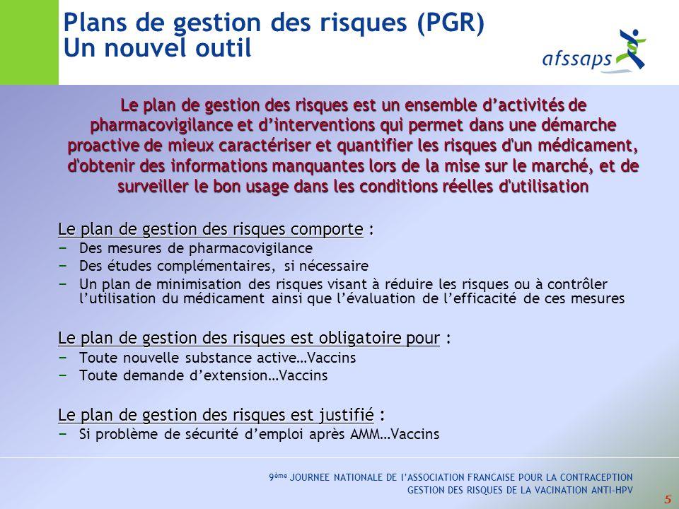 5 9 ème JOURNEE NATIONALE DE lASSOCIATION FRANCAISE POUR LA CONTRACEPTION GESTION DES RISQUES DE LA VACINATION ANTI-HPV Plans de gestion des risques (