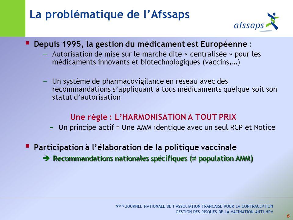 6 9 ème JOURNEE NATIONALE DE lASSOCIATION FRANCAISE POUR LA CONTRACEPTION GESTION DES RISQUES DE LA VACINATION ANTI-HPV Depuis 1995, la gestion du médicament est Européenne : – Autorisation de mise sur le marché dite « centralisée » pour les médicaments innovants et biotechnologiques (vaccins,…) – Un système de pharmacovigilance en réseau avec des recommandations sappliquant à tous médicaments quelque soit son statut dautorisation Une règle : LHARMONISATION A TOUT PRIX – Un principe actif = Une AMM identique avec un seul RCP et Notice Participation à lélaboration de la politique vaccinale Recommandations nationales spécifiques ( population AMM ) La problématique de lAfssaps