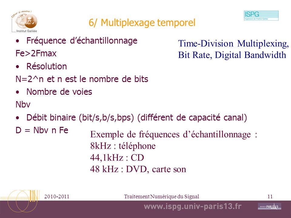 2010-2011Traitement Numérique du Signal11 6/ Multiplexage temporel Fréquence déchantillonnage Fe>2Fmax Résolution N=2^n et n est le nombre de bits Nom