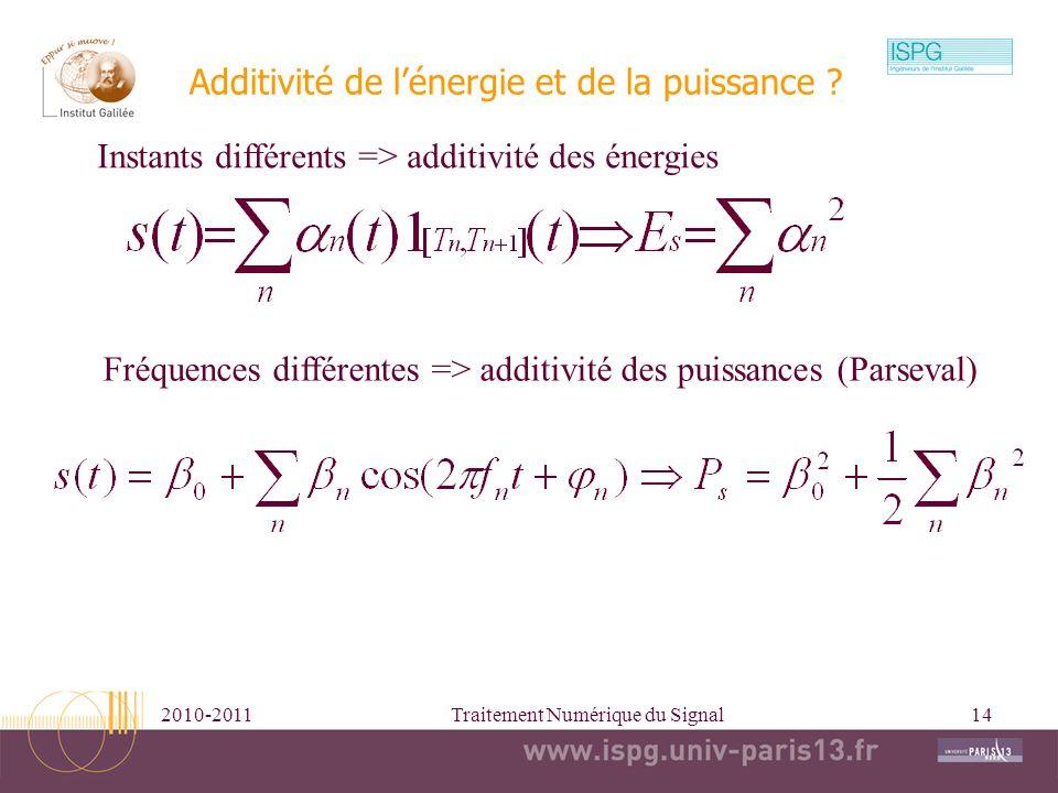2010-2011Traitement Numérique du Signal14 Additivité de lénergie et de la puissance ? Instants différents => additivité des énergies Fréquences différ