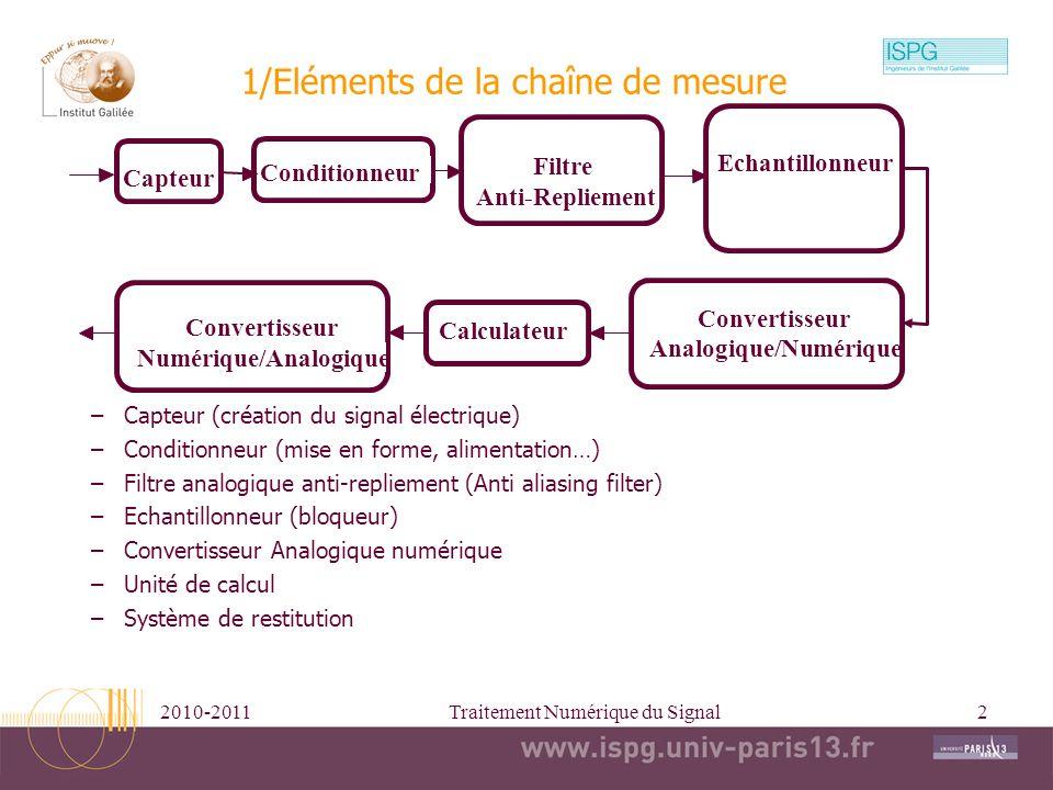 2010-2011Traitement Numérique du Signal2 1/Eléments de la chaîne de mesure –Capteur (création du signal électrique) –Conditionneur (mise en forme, ali