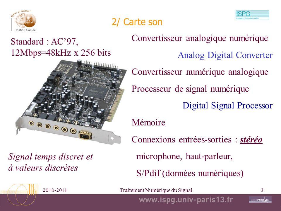2010-2011Traitement Numérique du Signal3 2/ Carte son Convertisseur analogique numérique Analog Digital Converter Convertisseur numérique analogique P